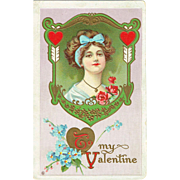 Vintage Postcard To My Valentine Lovely Lady in frame with forget me not flowers