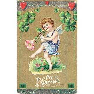 To My Valentine Vintage Postcard Cupid Playing A Flower Horn