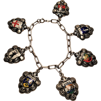 Vintage Europe Sterling Silver Travel Enamel Charm Bracelet