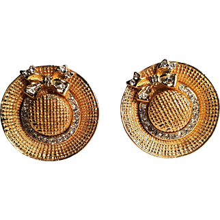 Vintage Rhinestone Hat with Bow Clip Earrings