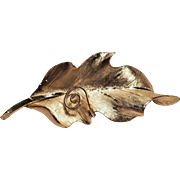 Vintage BSK Gold Tone Satin Metal Leave With Swirl Pin