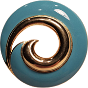 Vintage Trifari Blue Enamel Swirl Pin In Gold Tone Metal