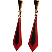 Vintage Napier Gold Tone Drop Red Enamel Pierced Earrings