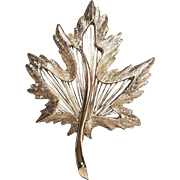 Vintage Monet Maple Leaf Pin Silver tone With Wire Insert