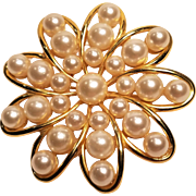 Vintage Marvella Faux Imitation Pearl Gold tone Flower Shape Metal Pin