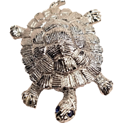 Vintage Gerry's Silver Tone Metal Turtle Pin with Rhinestone Eyes