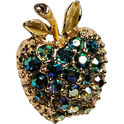 Vintage Gold Tone AB Rhinestones Apple Pin with Enamel Leaves