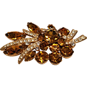 Vintage Eisenberg Ice Amber Rhinestone Garland with Tied Pave Ribbon Brooch
