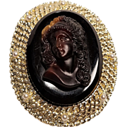Vintage Brown Multi Color Glass Cameo Lady with Curly Hair in Gold Tone Metal Pin and Pendant