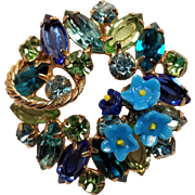 Vintage Rhinestone Brooch Green Blue and Turquoise Color Stones with Applied Glass Flowers Unusual Pin