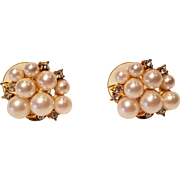 Vintage Gold Tone Marvella Pierced Imitation Pearl Earrings with Rhinestones