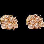 Vintage Gold Tone Marvella Pierced Imitation Pearl Earrings with Rhinestones
