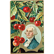 Vintage Postcard George Washington The Father His Country Cherries 1910