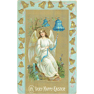 Vintage Postcard A Very Happy Easter Angel with Forget Me Not Bells 1909