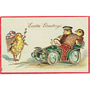 Vintage Postcard Easter Greetings Baby Chicks Driving Car Embossed 1900's
