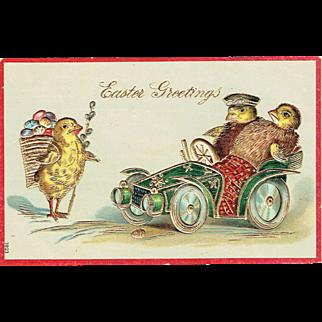 Vintage Postcard Easter Greetings Baby Chicks Driving Car Embossed 1900's