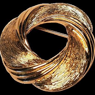Vintage Monet Elegant Gold Tone Satin Circle Pin
