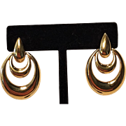Vintage Napier Gold Tone Pierced Moving Hoops Earrings