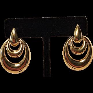 Vintage Napier Gold Tone Pierced Moving Hoops Earrings