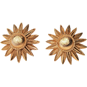 Vintage Crown Trifari Gold Tone Satin Flower Clip Earrings