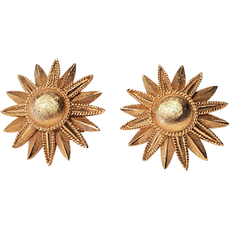 Vintage Crown Trifari Gold Tone Satin Flower Clip Earrings