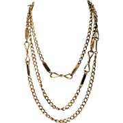 Vintage Monet Gold Tone Chain with Tabs and Twist 56 Inch Necklace