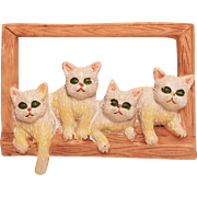 Vintage Four Cats in Window Plastic Pin