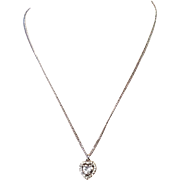 Vintage Crown Mark Trifari Silver Tone Heart Shape Rhinestone Necklace