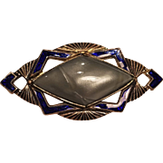Vintage Art Deco Embossed Brass Pin With Blue Enamel Decoration and Celluloid Grey Marble Stone