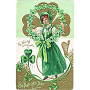 Vintage Postcard St. Patrick's Souvenir The Wearing of The Green 1911