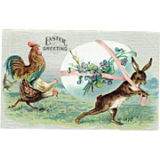 Vintage Easter Greeting Postcard Bunny with Egg and For get me knots with Chickens