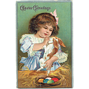Vintage Postcard Easter Greetings Little Girl With Bunny and Eggs