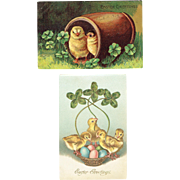 Vintage Postcards Easter Set of Two Baby Chicks in Barrel and Chicks In Basket With Shamrocks