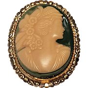 Vintage Celluloid Cameo Woman With Flowers In Hair With Brass Filigree Brooch