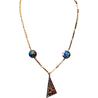 Vintage Neiger Brother's Brass Detailed Linked Choker Necklace with Enamel Beads and Leaf Pendant