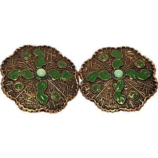 Vintage Embossed Brass With Green Cabochon Embellished Enamel Sash Belt Buckle Art Nouveau