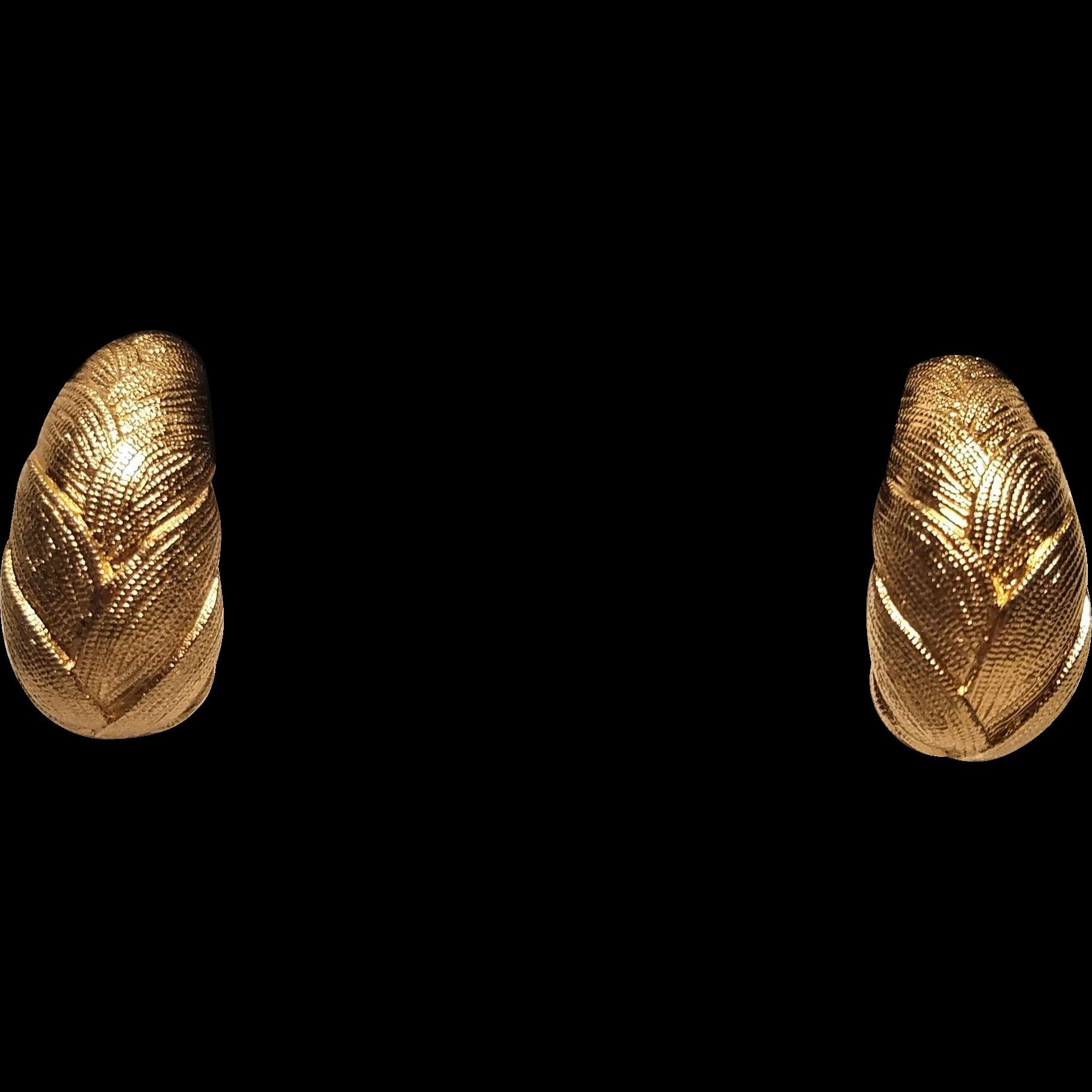 Vintage Monet Gold Tone Satin Metal Embossed Clip Hoop Earrings