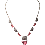 Vintage Pink Art Deco Filigree Rhodium Sliver Plated Czech Glass Stone Necklace