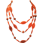 Vintage Lucite Asian Theme 55 Inch Necklace Melon Orange Tone