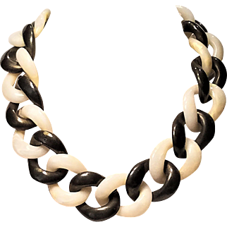 Vintage Lucite Chunky Chain Necklace Gunmetal Grey and Off White by AMPCP