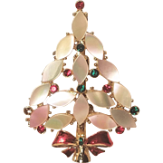 Vintage Christmas Tree Pin Pink and White Real Mother of Pearl and Rhinestones