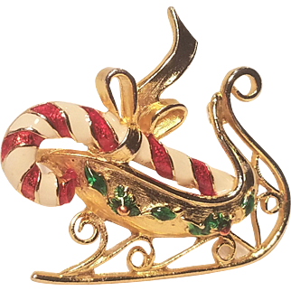 Vintage Unsigned MYLU Christmas Sleigh Pin With Candy Cane