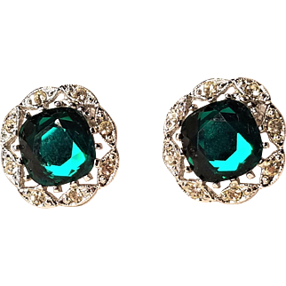 Vintage Sarah Coventry Sliver Tone Blue Green Rhinestone Clip Earrings