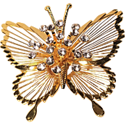 Vintage Monet Rhinestone Butterfly Pin With Rhinestones