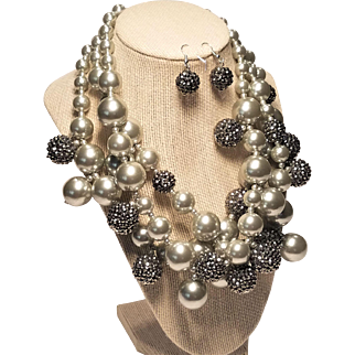Vintage Kenneth Lane Grey Faux Pearl and Sparkle Bobble Three Strand Statement Necklace