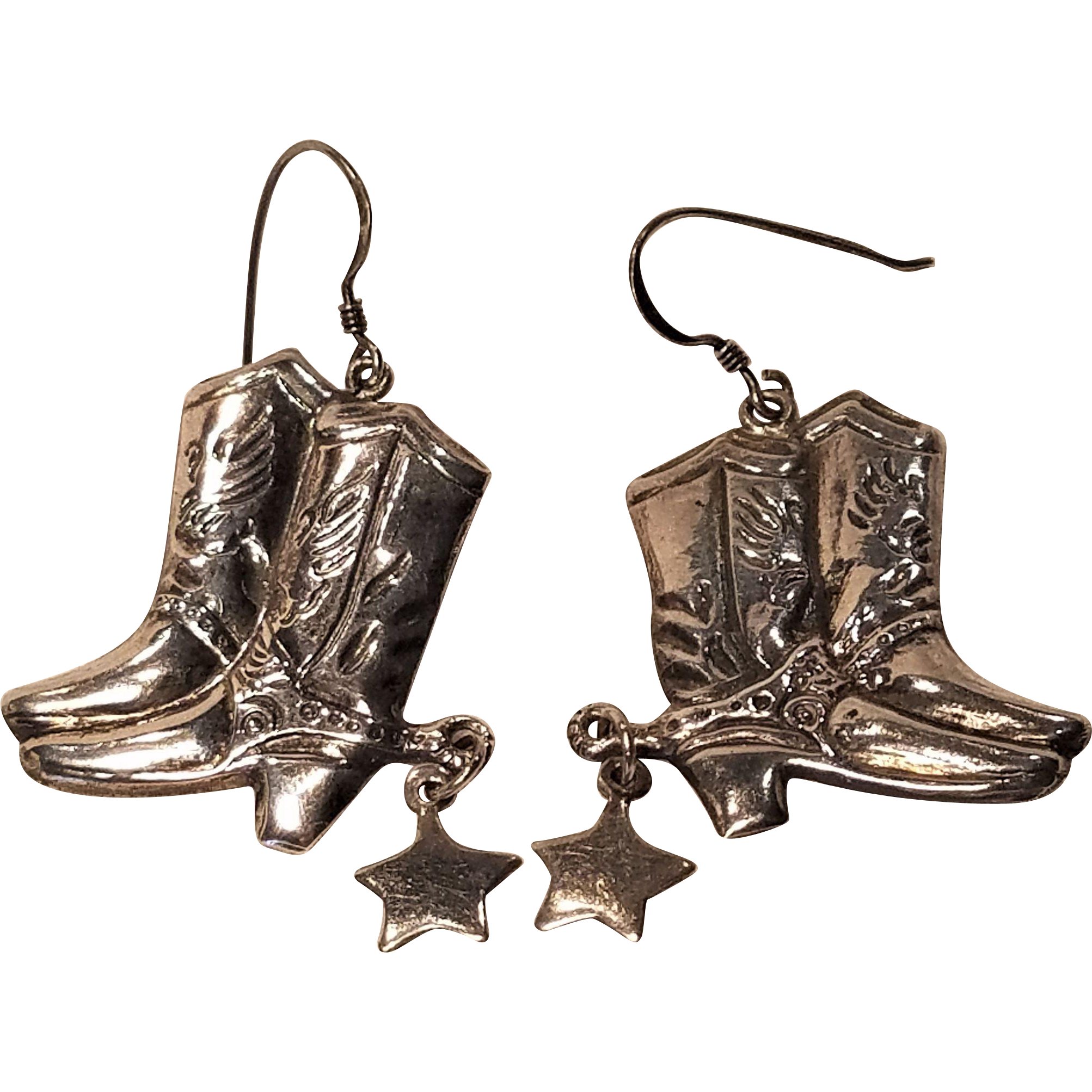 Vintage Silver Cowboy Boot Pierced Earrings With Hanging Stars 925