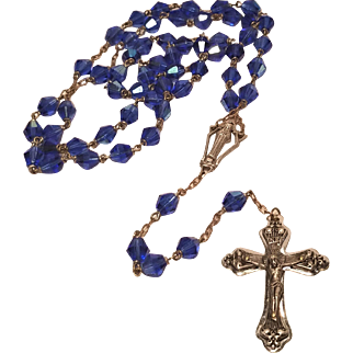 Vintage Brass Rosary Large AB Blue Crystal Glass Beads 25 Inches, Cross is 2 1/4 inches long by 1 1/2 inches wide
