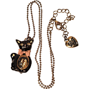 Vintage Betsey Johnson Black Cat Shaker Necklace Window Belly With Charms