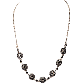 Vintage Crown Trifari Marcasite Silver Tone Necklace with Hang Tag