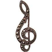 Vintage Silver 925 Marcasite Musical Note Pin